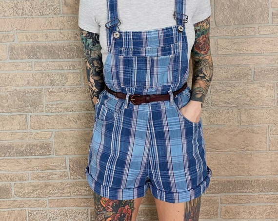 90's Plaid Overalls Shorts