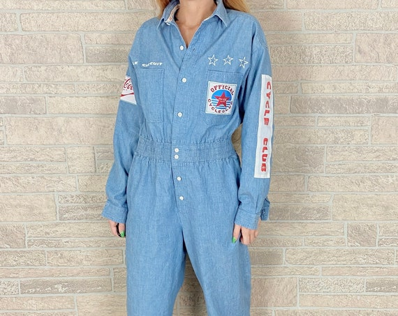 80's Coca Cola Chambray Jumpsuit Romper / Size Medium
