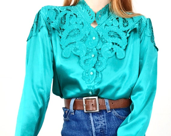 Vintage Teal Satin Lace Embroidered Paisley Blouse