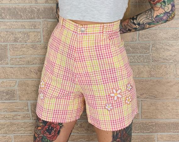 Seersucker Plaid High Rise Shorts / Size 26