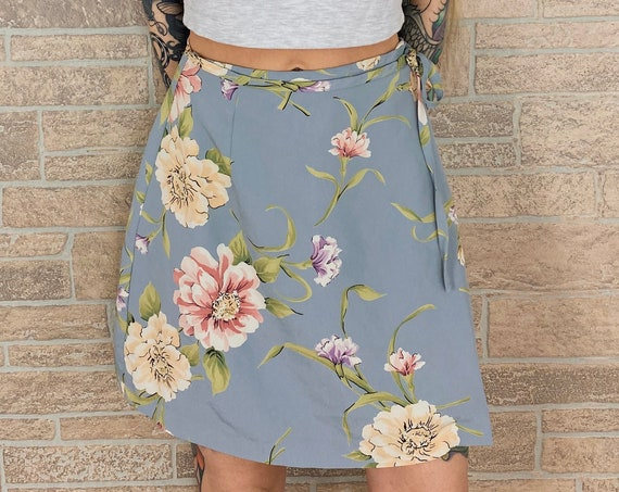 90's Floral Wrap Around Skirt