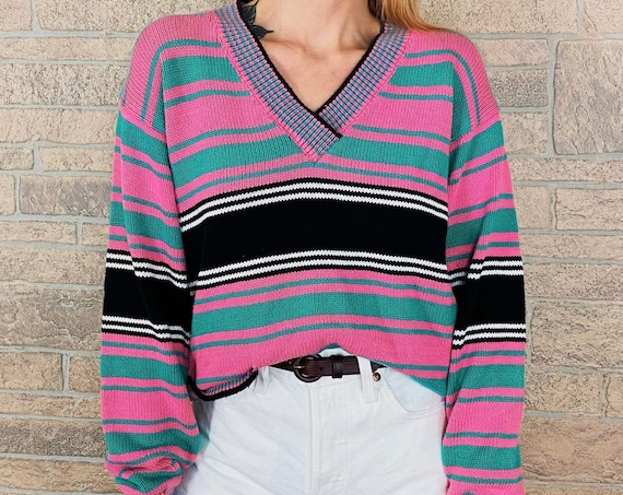 Vintage Slouchy Knit Striped Sweater