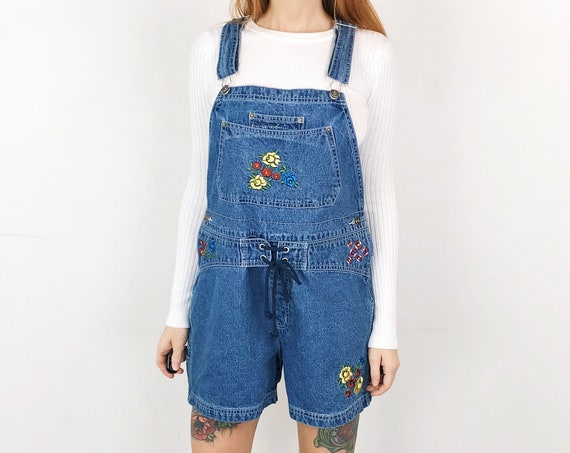90's Embroidered Denim Overalls