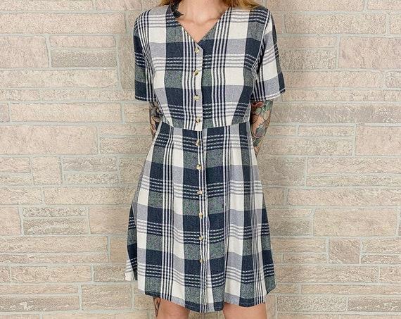 Light SILK Knit Plaid Button Front Dress