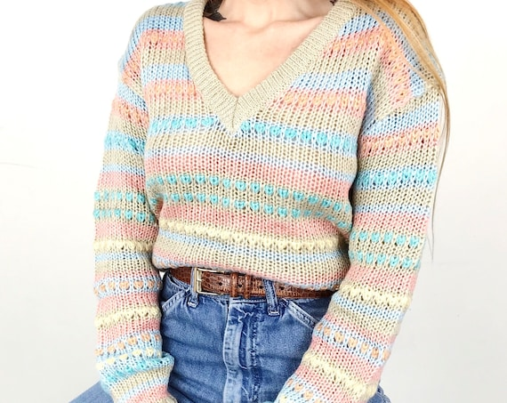 70's Hand Knit Pastel Sweater