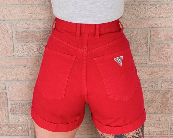 Guess Jeans Red High Waisted Cuff Shorts / Size 24