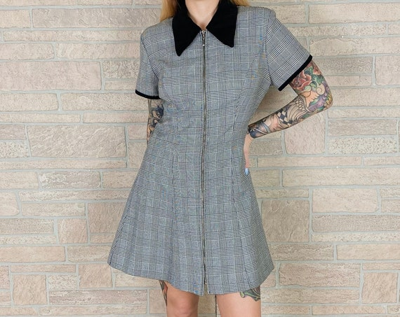 Mod Houndstooth Collared Mini Dress