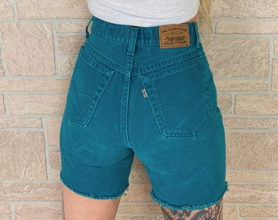 Levi's 900 Series Teal Cut Off Jean Shorts / Size 25