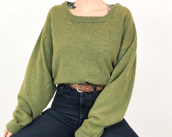 Vintage Cashmere Knit Green Pullover