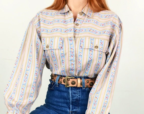 Western Striped Floral Shirt