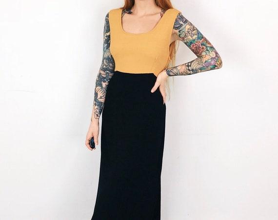 Minimalist Vintage Yellow and Black Tie Back Dress