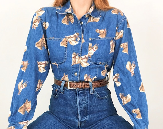 Equestrian Horse Print Chambray Denim Shirt