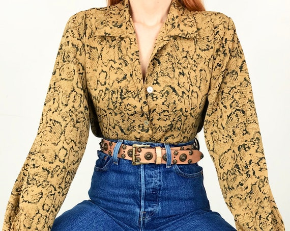 Snakeskin Print Button Up Blouse
