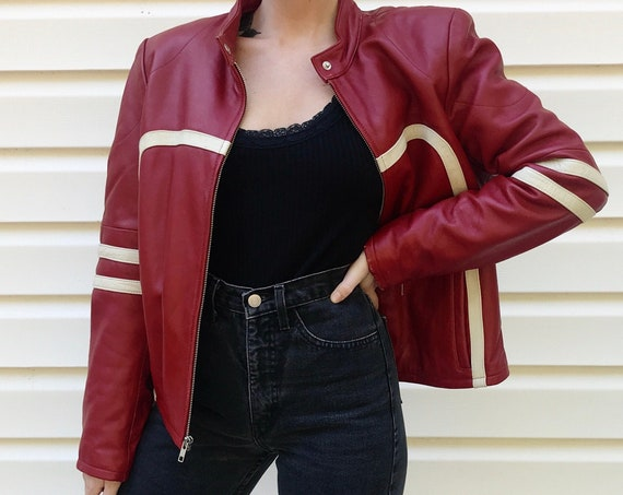 Red and White Two Tone Leather Moto Jacket