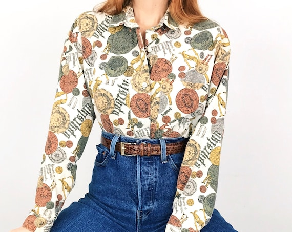 Vintage Novelty Print Coins and Trinkets Shirt