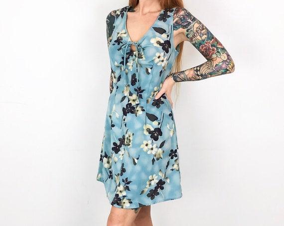 90's Floral Print Sleeveless Mini Dress