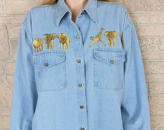 80's Retro Denim Button Front Shirt with Gold Animal Patches