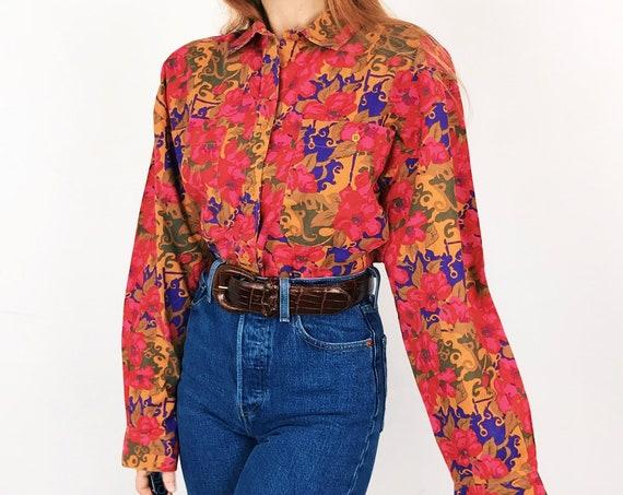 Vintage Floral Oversized Button Up Shirt