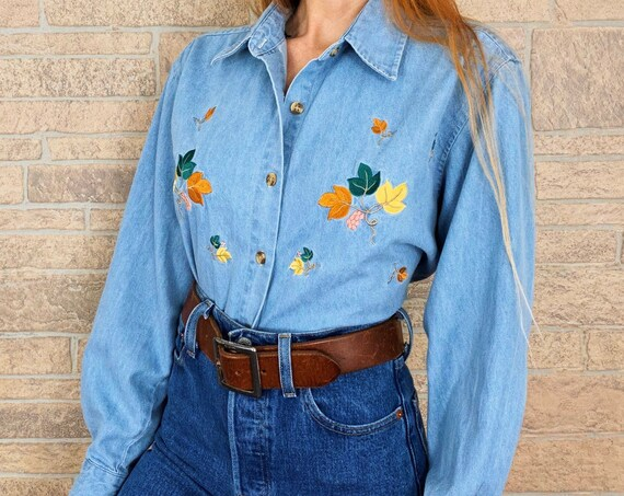 Embroidered Leaves Button Up Denim Shirt