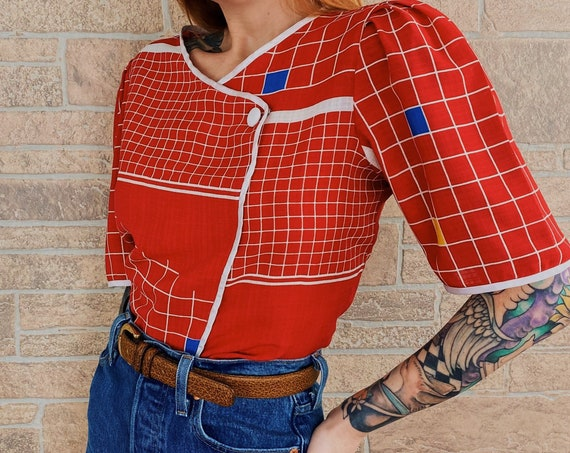 60's Mod Chic Geometric Novelty Blouse