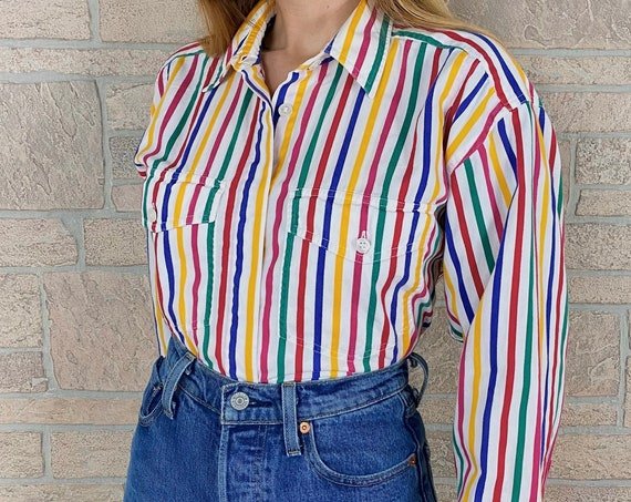 90's Rainbow Striped Oxford Button Up Shirt