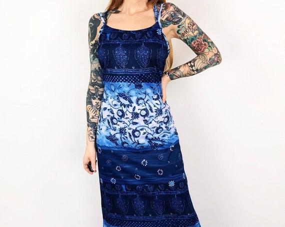 90's Bohemian Blues Strappy Summer Maxi Dress