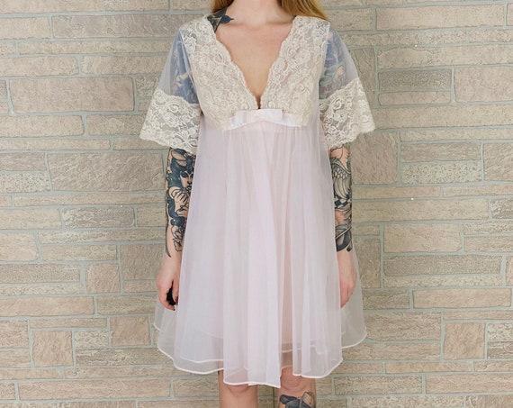 60's Delicate Vintage Slip Dress and Peignoir Matching Lingerie Set