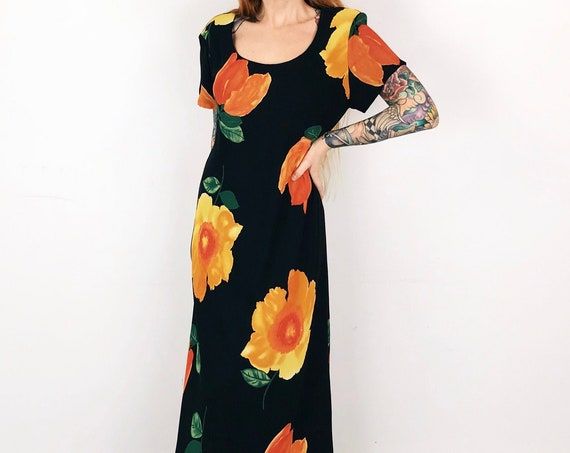 90's Lightweight Summer Floral Watercolor Maxi Dress