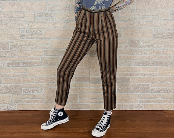 Pinstriped Slim Fit Trousers / Size 25 26