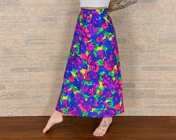 60's Floral Maxi Skirt / Size 26
