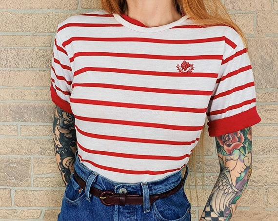 Vintage Soft Red and White Striped T-Shirt Tee