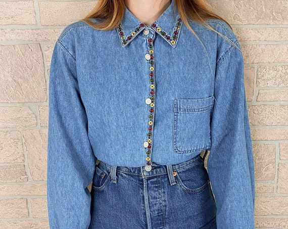 90's Soft Denim Embroidered Button Front Shirt