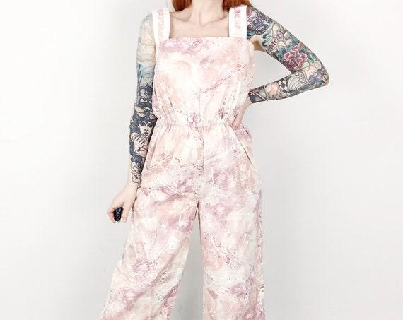 Rose Pink White Denim Jumpsuit Romper