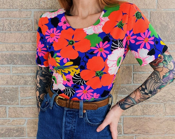 60's Psychedelic Neon Floral Top