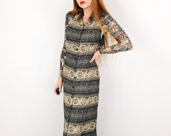 90's Button Up Sleeveless Summer Maxi Dress