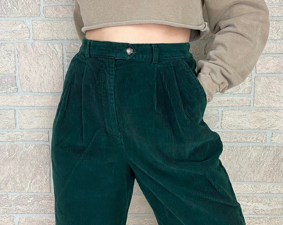 Forest Green Corduroy High Waisted Trousers / Size 28 29