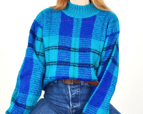 Vintage Mohair Fuzzy Plaid Pullover Sweater