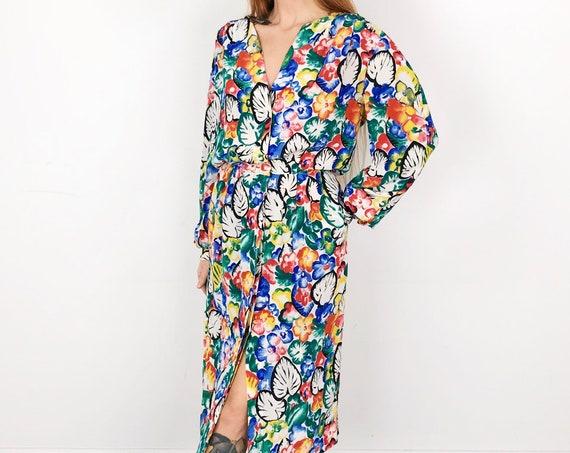 Vintage Pure Silk Floral Chic Summer Midi Dress
