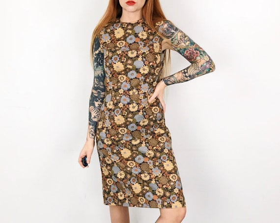 60's Floral Print Sleeveless Shift Dress