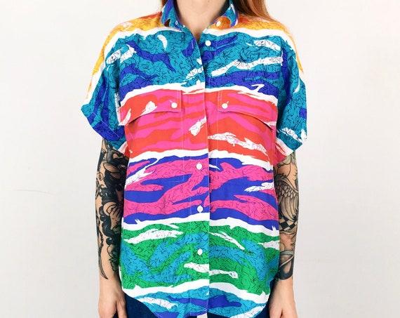 Colorful Retro Oversized Blouse