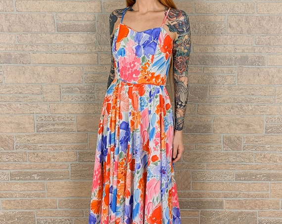 70's Sweetheart Colorful Watercolor Maxi Dress