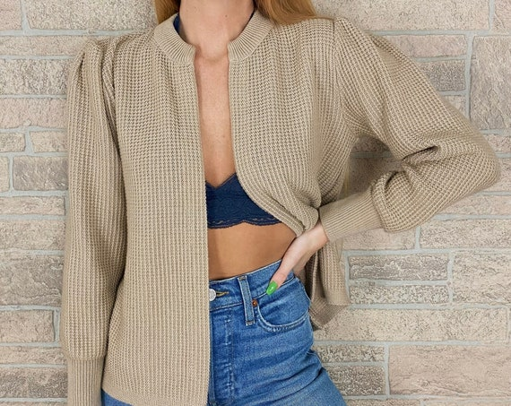 Vintage 60's Soft Beige Waffle Knit Cardigan Sweater