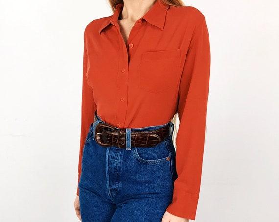 DKNY Vermilion Silk Blouse