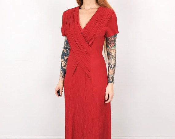 Vintage Red Textured Draped Minimalist Dress