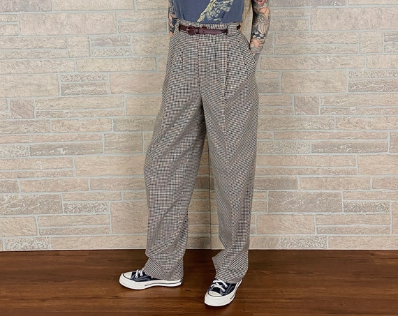 Vintage Plaid Relaxed Fit Tartan Trousers / Size 27 28