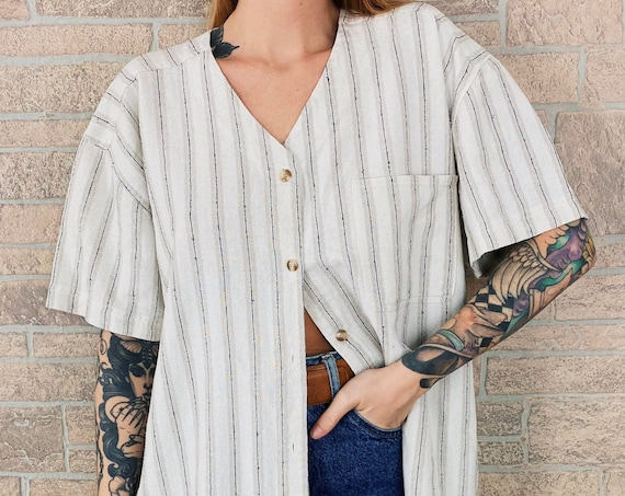 Silk Woven Knit Oversized Striped Button Up Top