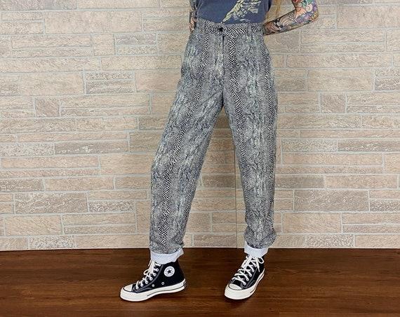 Vintage Snakeskin Print Trousers / Size 26