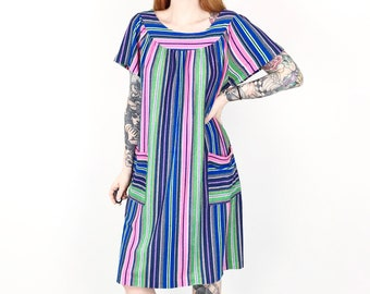acca8afc 60's Terry Cloth Colorful Striped Mod Dress