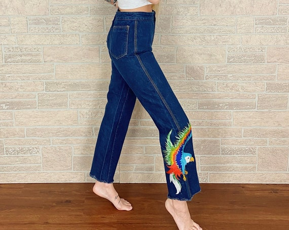 70's Vintage Embroidered High Rise Jeans / Size 24