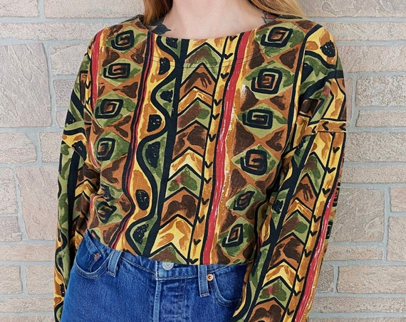 Vintage Abstract Print Oversized Long Sleeve Knit Top